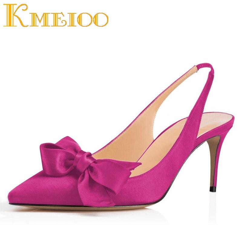 Kmeioo 2020, zapatos de moda para mujer, Bowknot, gatito, tacones puntiagudos, tirachinas, tacones medios, zapatos de boda de noche 6,5 CM