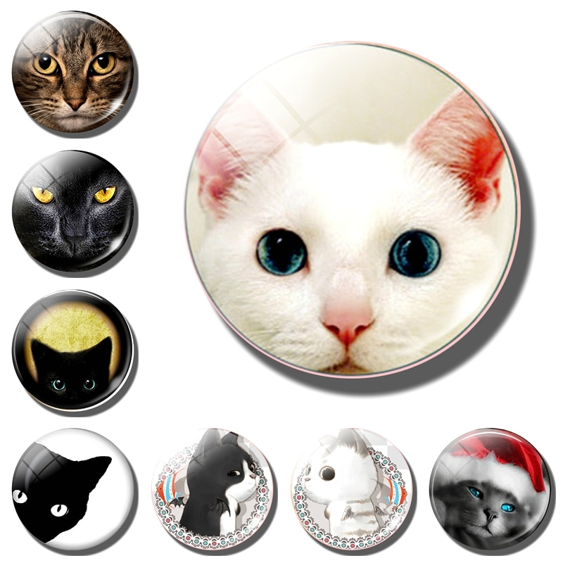 Милый Кот декоративные магниты на холодильник милое животное Счастливое животное пара кошка 30 мм магнит на холодильник кошка доска объявле...