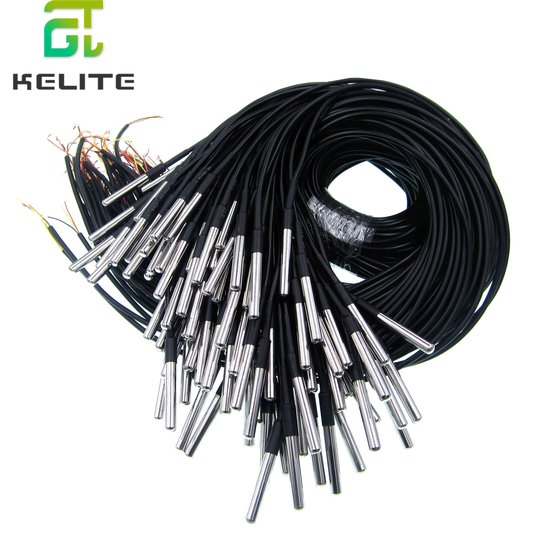 10PCS Waterproof 18B20 temperature probe temperature sensor Stainless steel package 1 meter/2meter/3meters wire (DS18B20)
