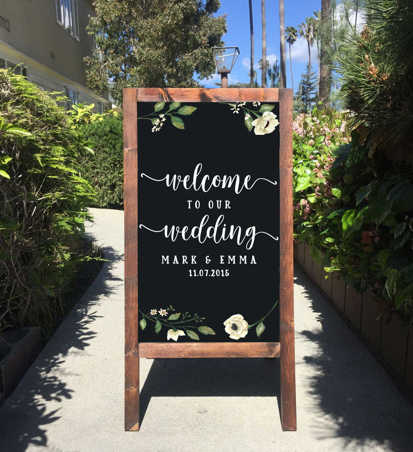 Welcome Wedding Chalkboard Sticker Decor Wedding Wall Decals Personalised Couples Names Dates Mirror Vinyl Stickers AY1931