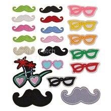 Free Shipping 10 pcs Mastache sunglasses embroidered iron on fabric patches badge hotfix clothing ha