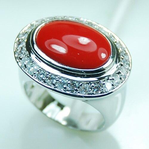 Coral ROJO de moda 925 plata esterlina anillo tamaño 6 7 8 9 10 F986
