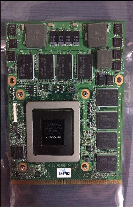PARA Clevo MSI 16F1 16F2 Para DELL M15X M17X M57NL GTX285M GTX 285 m N11E-GTX1-B1 Vídeo VGA CARTÃO DE 100% de TRABALHO NICE
