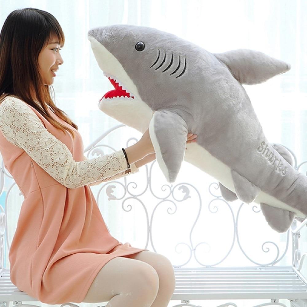 70cm lindo tiburón de peluche en forma de almohada cojín trasero muñeca regalo Animal refuerzo de alta calidad tiburón blanco de gran tamaño de la felpa muñeca
