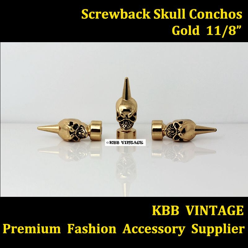 (KBM08) 10pc 1-1/8'' Western Skull Concho Screwback Skull Spikes Gold