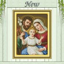 Peintures décoratives chrétiens de maison en jésus   Ensemble de broderie au point de croix avec impression sur toile DMC 11CT 14CT