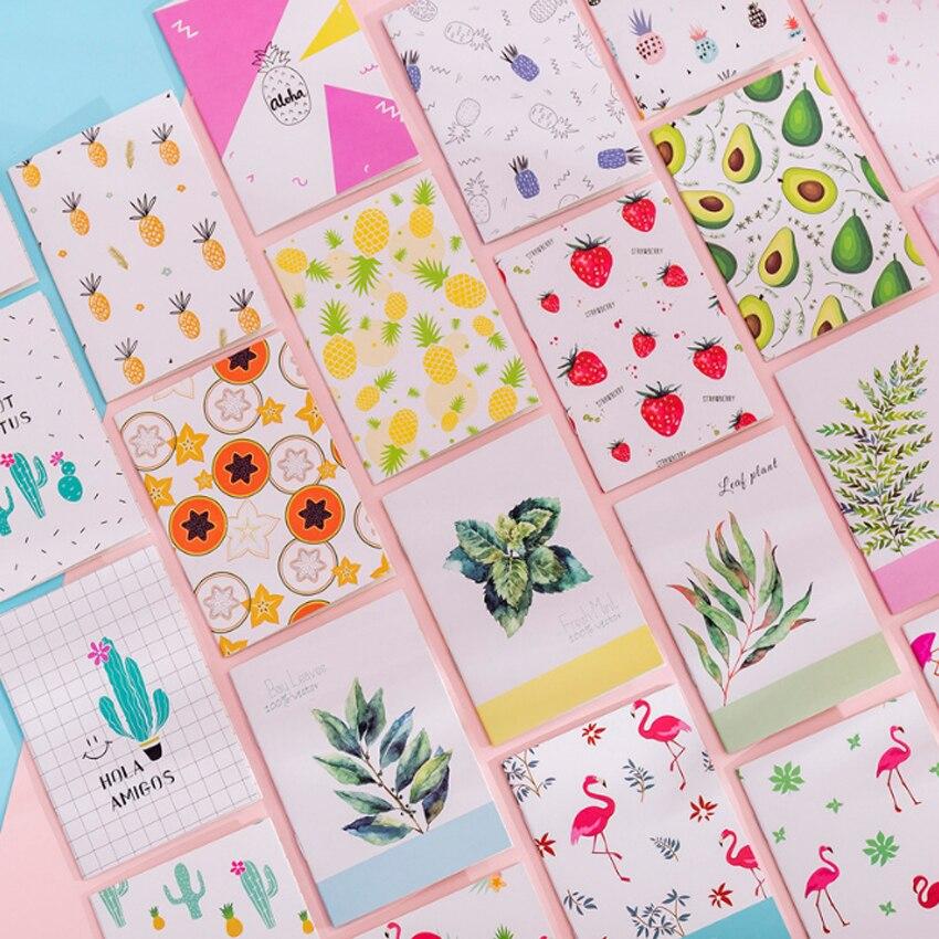 4pcs/lot kawaii Korea creative small fresh painting series Plant pineapple Notebook Stationery student supplies
