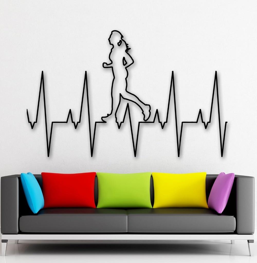 Abnehmbare Home Dekoration Wohnzimmer Aufkleber Laufen Fitness Wand Aufkleber Gesunde Lifestyle adesivo vinilos Decor poster NY-253