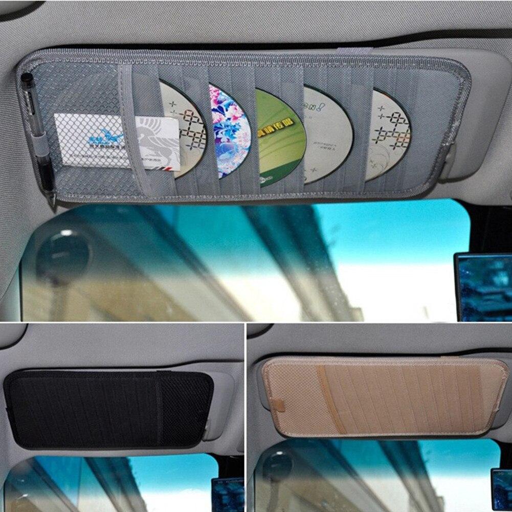 Coche CD parasol cubierta de la tarjeta del sostenedor del almacenamiento de la caja del clip del bolso del CD del coche parasol CD DVD bolsa del coche estilo