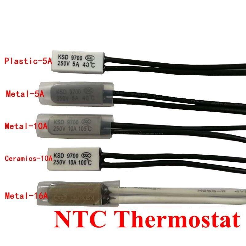 5pcs Thermostat 10C-240C KSD9700 130C 145C 150C 115C 120C Bimetal Disc Temperature Switch Thermal Protector degree centigrade