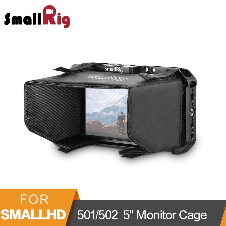 """Jaula de Monitor SmallRig con parasol para SmallHD 501/502 5 """"jaula protectora de Monitor con capucha parasol-2177"""