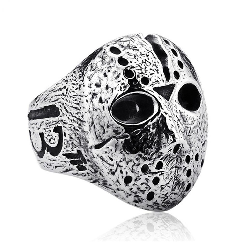 Anillo de viernes negro para hombre, máscara de anillo Punk Rock Jason Hockey Horror Skull, anillo para dedo, regalos originales para hombres