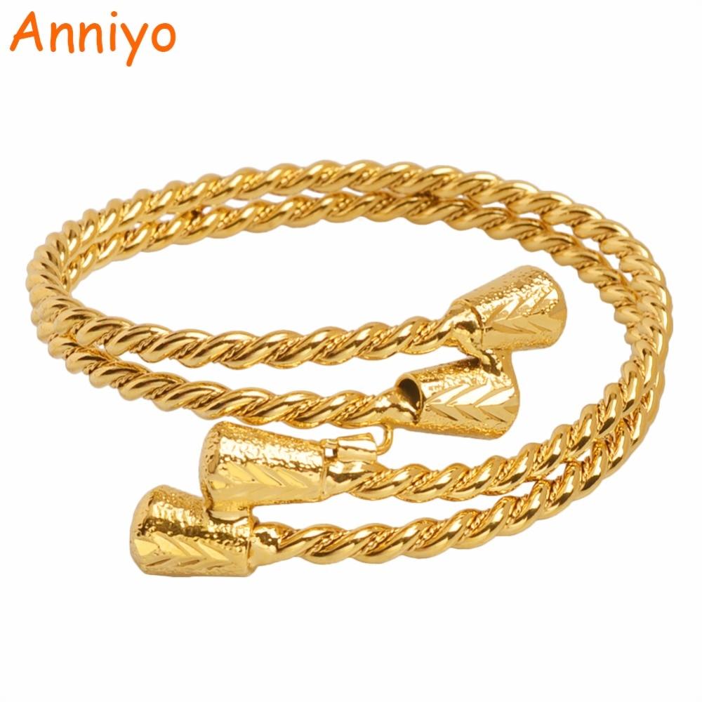 Color dorado anniyo etíope brazalete para las mujeres árabes pulsera de Dubái joyería Africana accesorios regalos 2018 nuevo #100406