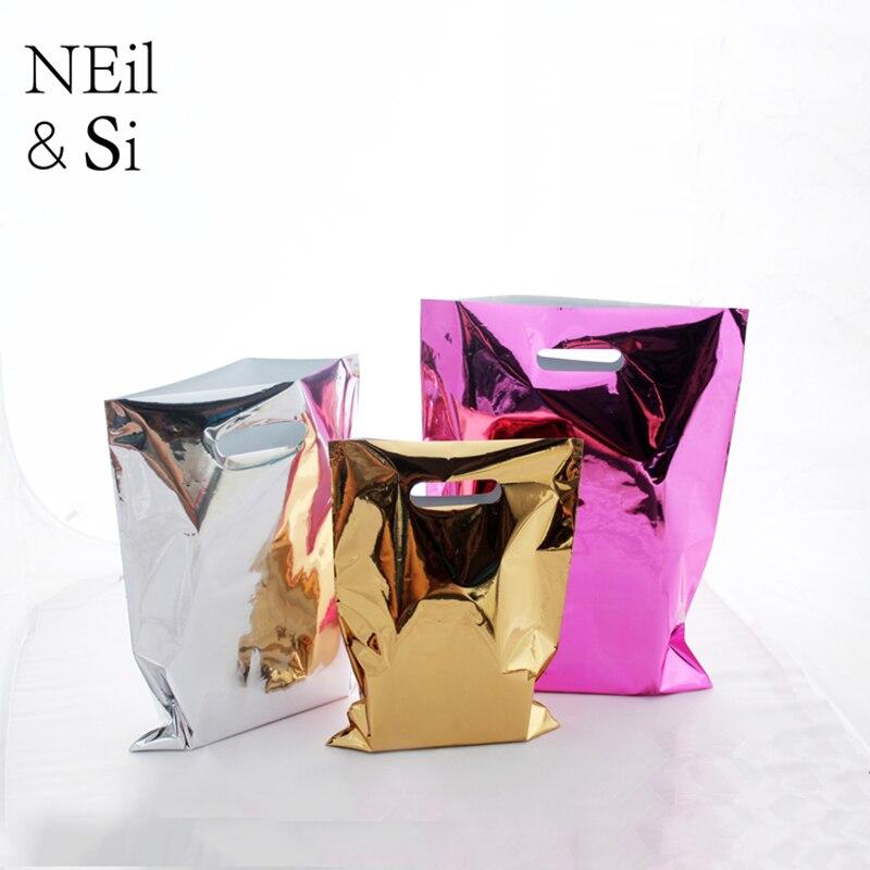 Bolsa de regalo brillante de plástico para centro comercial, embalaje de ropa de supermercado, bolsas de papel de aluminio rosa dorado plateado, envío gratis