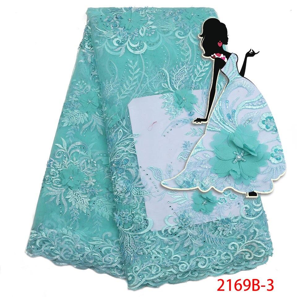 Nuevo estilo francés Net Lace telas 3D flor Africana abalorios Material alta calidad Nigeria encaje tela para AMY2169B-2 de boda