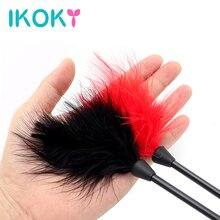 IKOKY 24cm flirtant plume noir fessée fouet SM Bondage jouets érotiques jouets sexuels pour Couple Clitoris stimulateur jeux pour adultes