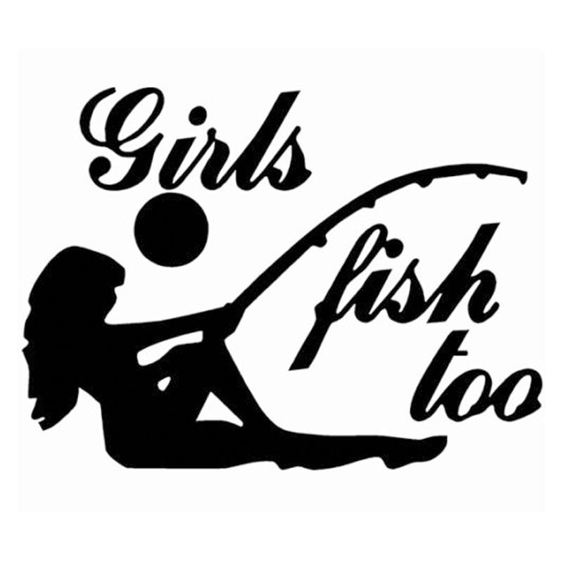 HotMeiNi Girls Fish Too fish on on fishing Sticker decal window car laptop