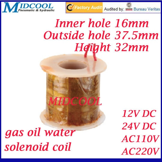 Пневматический для газа воды и нефти клапан, соленоидная катушка, 24 В постоянного тока, провод свинцового типа, внутреннее отверстие, диамет...