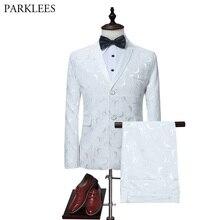 Mens White Rose Jacquard 2 Piece Suit (Jacket+Pants) Party Wedding Groom Tuxedo Suit Men Notched Lapel Business Suits Blazer