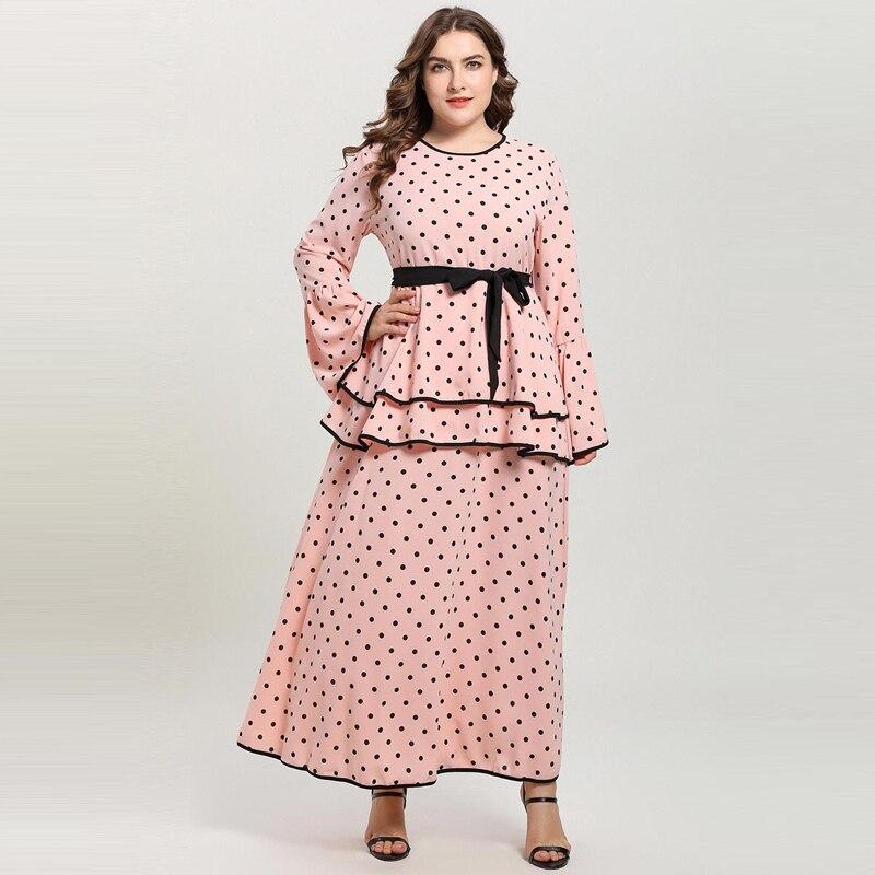 Talla grande Rosa Polka Dot Maxi Vestidos Mujer manga larga Flare doble capa Peplum Vestidos de fiesta largos Vestidos musulmanes Abaya 4XL