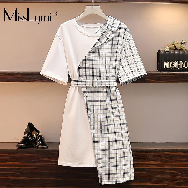 L-4XL Plus Size Women Asymmetrical Dress Summer 2020 Fashion Short Sleeve Cotton T shirt Patchwork Ladies Plaid Shirt Dresses