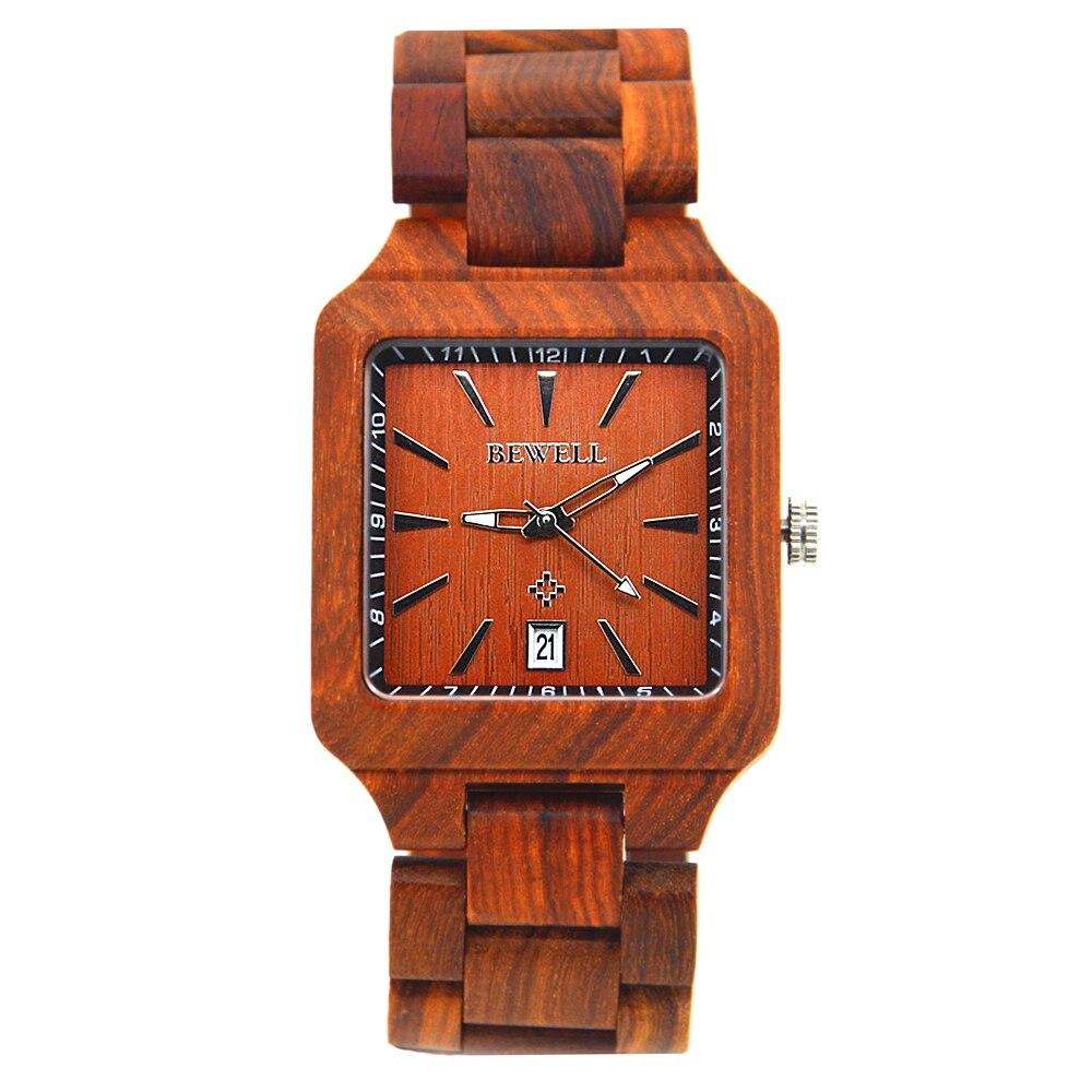 BEWELL-ساعة كوارتز للرجال ، خشب الصندل ، مع تقويم ، ماركة فاخرة ، رياضية ، صندوق هدايا ، 110A