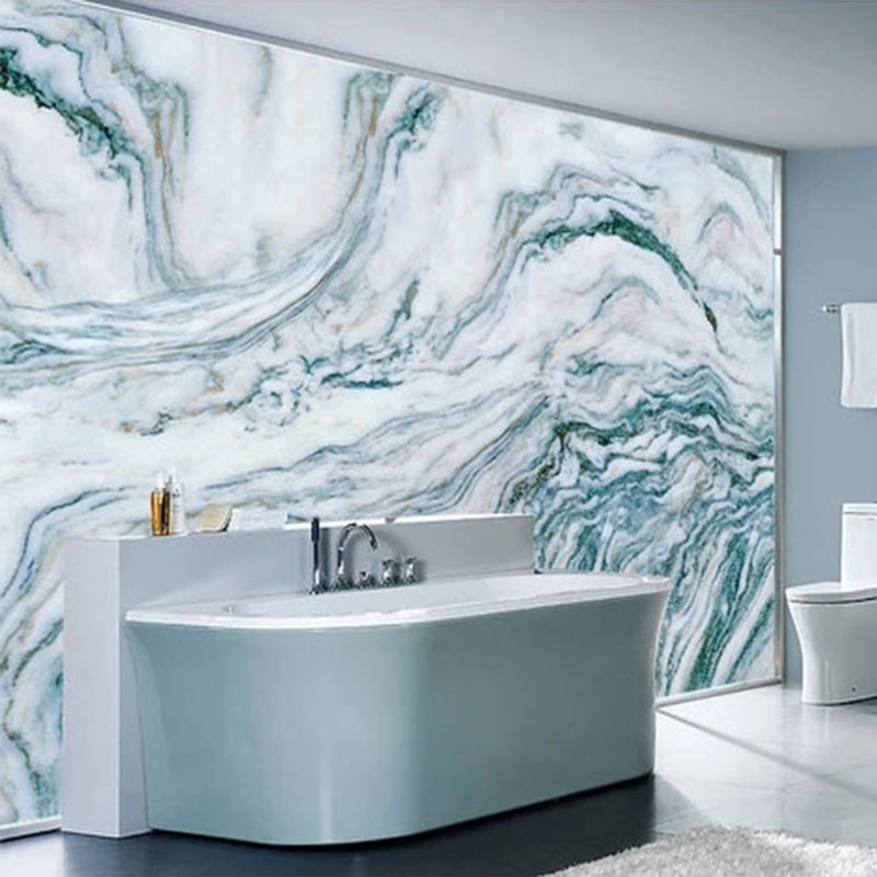 Nach Selbst-adhesive Bad Wandbild Tapete Moderne Blau Marmor Tinte Landschaft Aufkleber PVC Wasserdichte Wohnkultur Papel De Parede