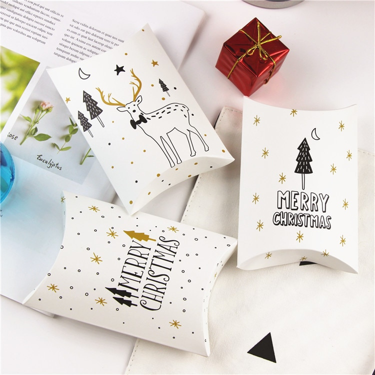 10 unids/lote pequeña caja de dulces Merry Christmas árbol almohada Reno caja de macarrones, tarta de muffin de chocolate horneado de galletas paquete