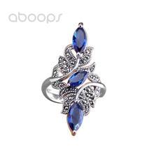 Vintage 925 srebrny pierścionek Marcasite z niebieską cyrkonią dla kobiet dziewczyn, regulowany rozmiar 6-8