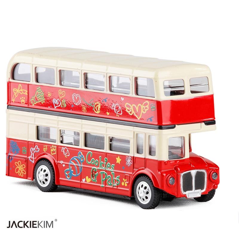 Nuevo coche de aleación Acústica-óptica London de dos pisos, modelo para niños, regalos de cumpleaños, envío gratis, escala 128