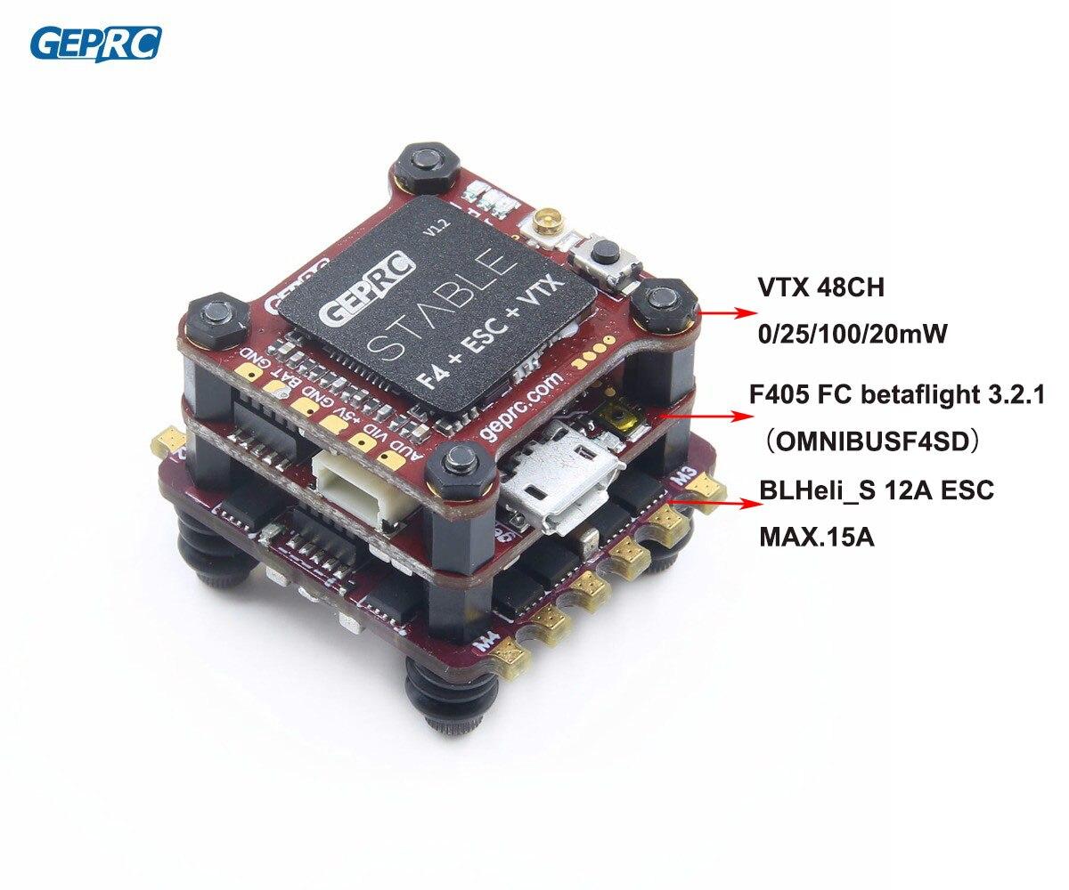 GEPRC estable F4 Mini Torre F4 de Control de vuelo Betaflight + 12A/20A BLHELI-S 4in1 ESC + 48CH 200mW VTX para micro Drone FPV