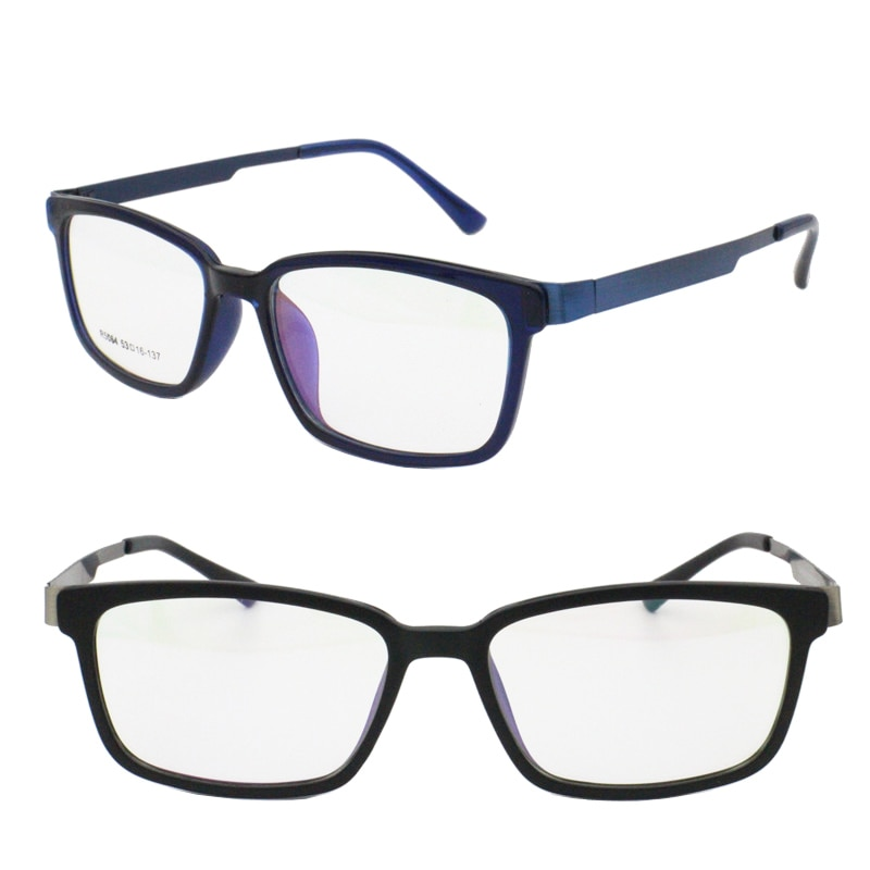 R5064 stainless steel combined with acetate square shape double rim fullrim trendy stylish prescript