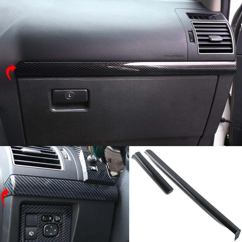 Estilo do carro 2 pçs para toyota land cruiser prado fj150 2010-2018 textura de fibra de carbono console central decoração tiras guarnição