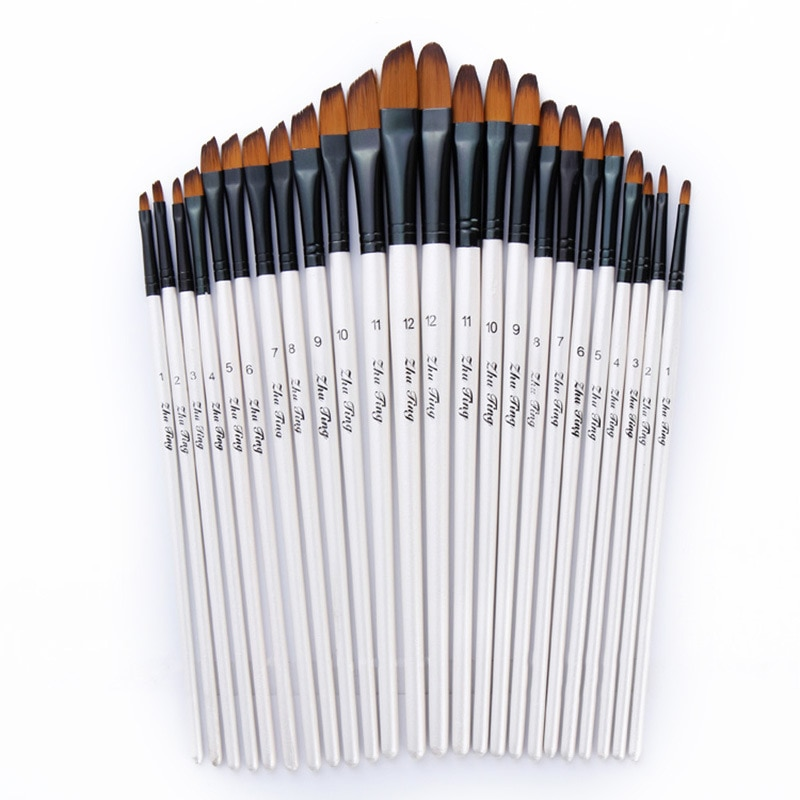 12pcs Nylon Hair Wooden Handle Watercolor Paint Brush Pen Set For Learning Diy Oil Acrylic Painting