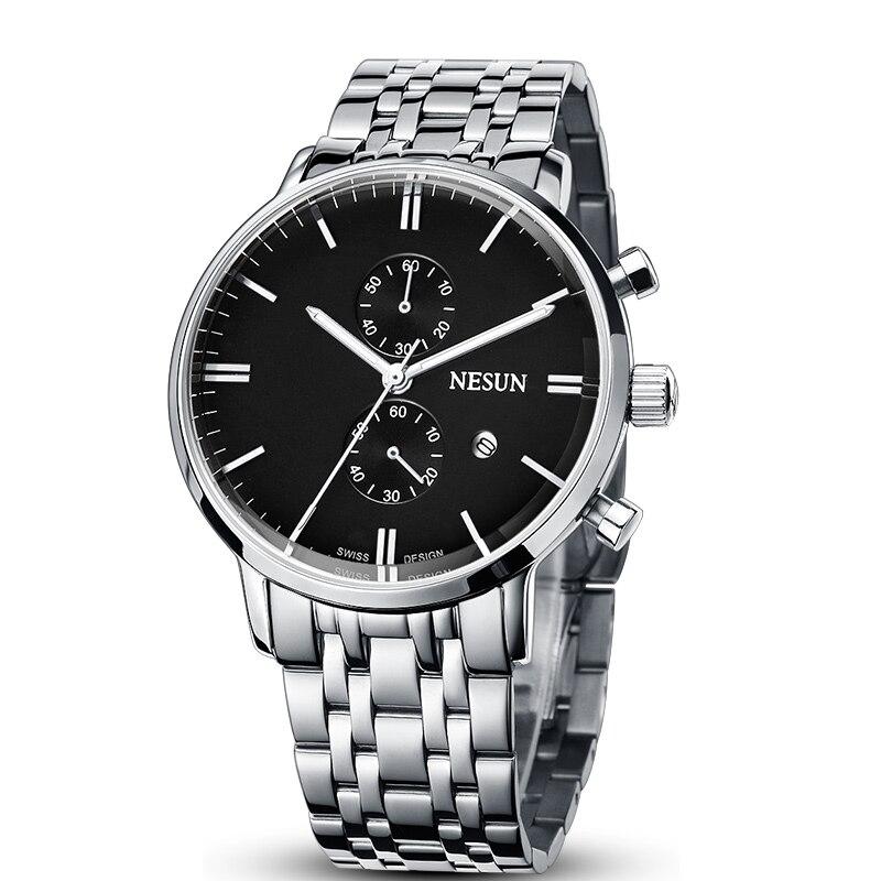 Nesun montres hommes de luxe marque japon Import Quartz mouvement montre hommes chronographe montres étanche reloj hombre N8601S1
