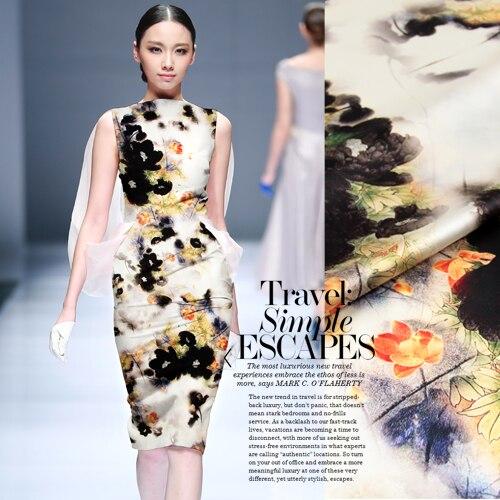 Jenny story1986 100% seda mulberry estiramiento satén Impresión digital cheongsam Fiesta club espectáculo de noche