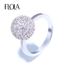 FLOLA delicado presente zirconia Bola de plata mujer bonito anillo Micro incrustación Simple CZ anillo de dedo joyería Bague boda banda rigf23