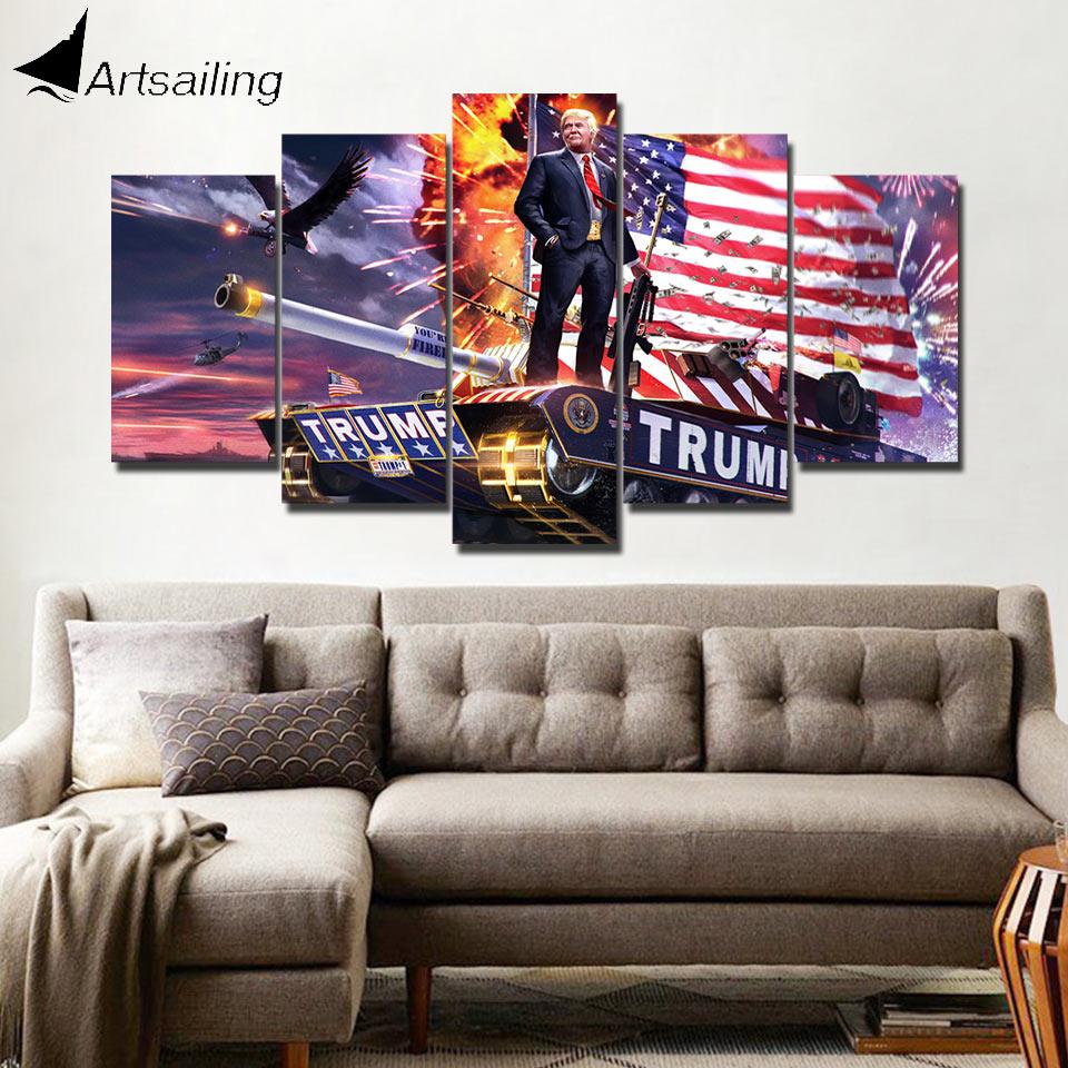ArtSailing HD impresión 5 piezas lienzo arte Donald Trump arte impresión pared decoración del hogar Accesorios cartel moderno con marco PC-8109