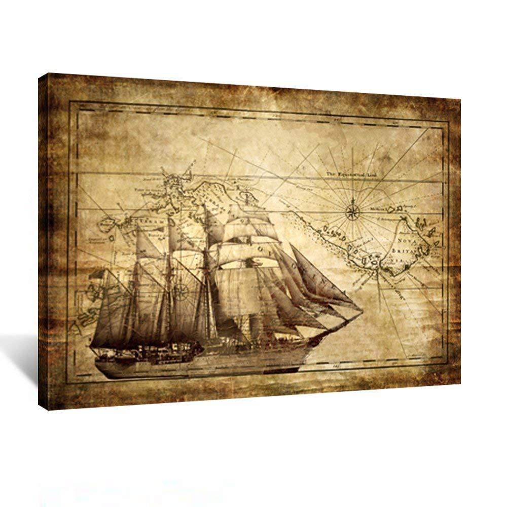Vintage Map Canvan Prints - Adventure Ocean Sailing Map Poster Art Print Canvas Framed for Living Room DecorDrop Shipping
