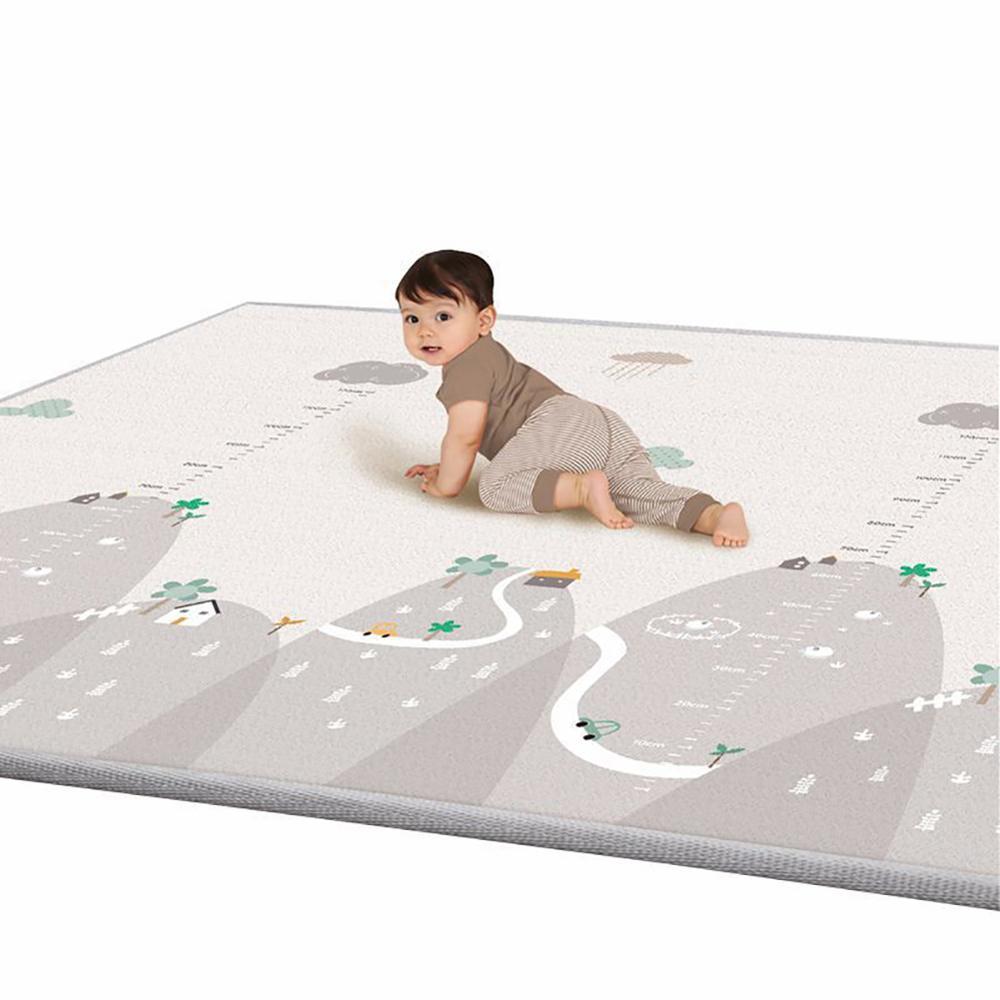 200x180x1cm Baby Toddler Crawl Mat Reversible Waterproof Non-Slip Floor Playmat Carpet Rug Game Blanket Shatter-resistant Pad