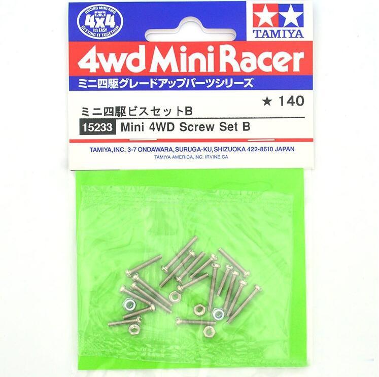 1 Juego de tornillos Mini 4WD B con tuerca de bloqueo de 2mm 15233 piezas de repuesto para el modelo de coche Tamiya Mini 4WD