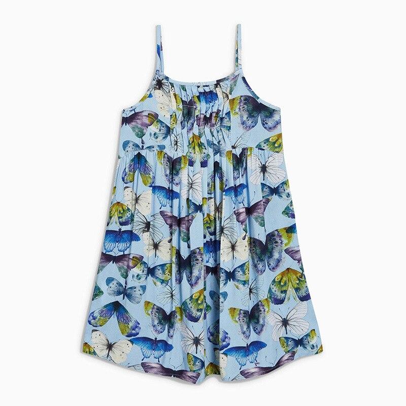 Little Maven-petit Maven dété enfants   Sans manches, bleu clair, imprimé papillon, tricoté, en coton, pour grandes filles de 4 à 10 ans, nouvelle collection