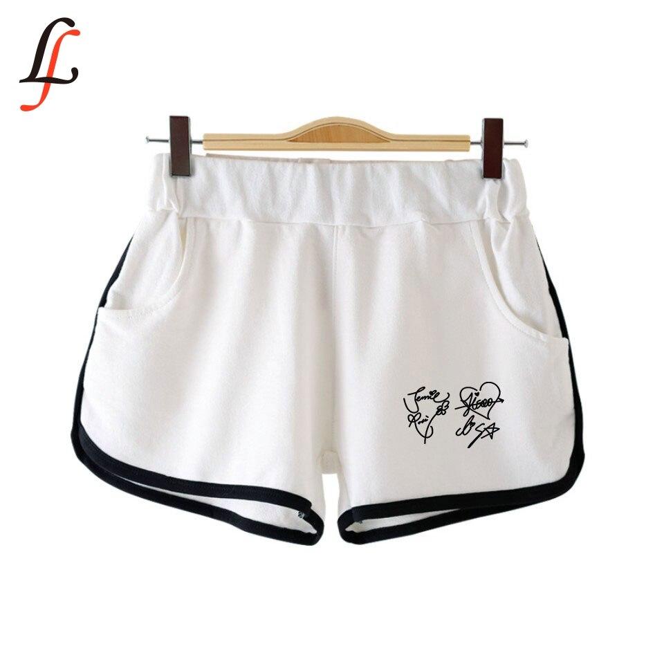 Pantalones cortos Blackpink de verano para mujer, pantalones cortos k-pop informales con cintura elástica, pantalones cortos de moda para Fitness, pantalones cortos de Harajuku, suaves y lisos para combinar con todo