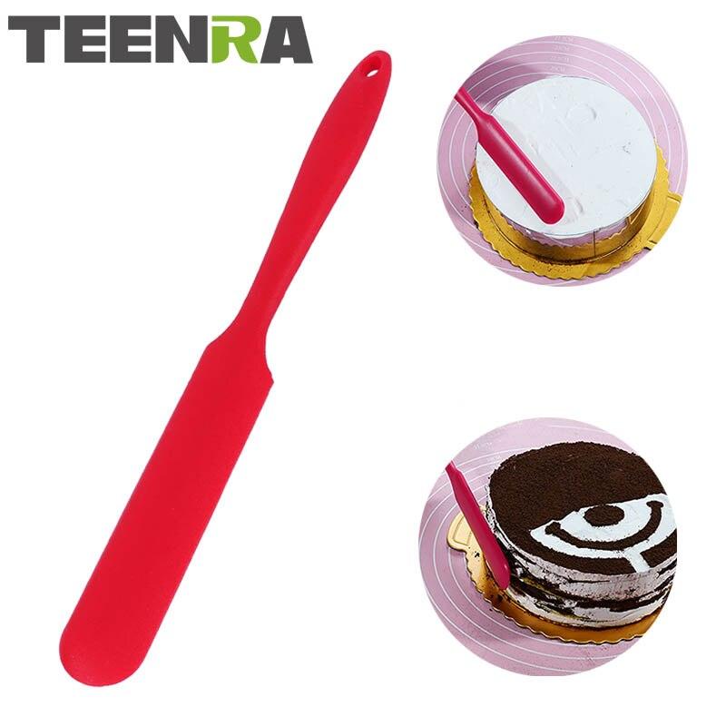 Espátula de silicona de mango largo TEENRA 1 Uds., espátula para mantequilla, mezclador de helados, espátula de silicona para hornear, herramientas para espátula de pasteles