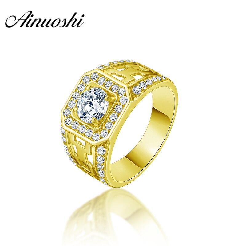 Anillo AINUOSHI de oro amarillo sólido de 14K para hombre, anillo cuadrado con perforaciones, anillo de Halo, anillo de compromiso, joyería para hombre, ancho vintage, banda de boda