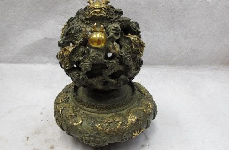 9 Popular Clásico Antiguo de Bronce Dorado riqueza Feng Shui Lucky Nueve Dragón torbellino Grano