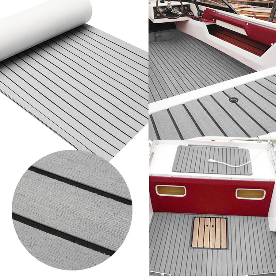 Lámina de espuma de EVA autoadhesiva para cubierta de teca, bote marino, yate, cubierta sintética, alfombra de suelo de espuma, gris, 240cm x 60cm x 6mm