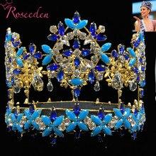 Тиара Miss World, полная круглая тиара в стиле барокко с синими кристаллами и стразами, тиара принцессы RE3021