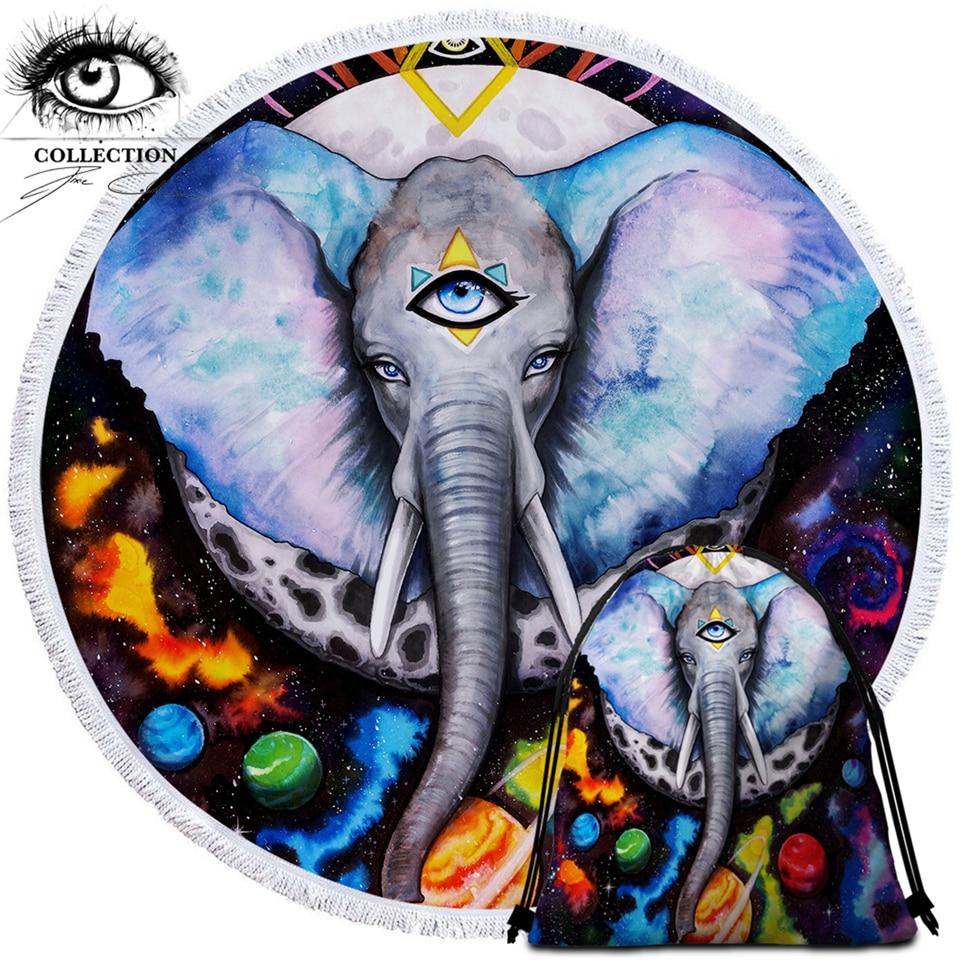 Toalla de playa redonda de arte frío Alien Elefant by Pixie, tapiz de elefante, Toalla de baño de Toalla de galaxia de Animal, alfombra colorida de Planeta de 150cm