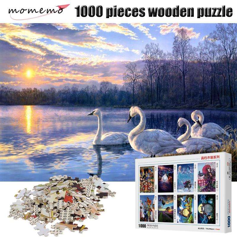 Пазл-Лебедь MOMEMO для взрослых, деревянные игрушки, 1000 шт., деревянные головоломки, игры, пазлы-пейзажи для детей, игрушки